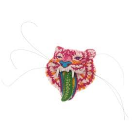 トラ 刺繍ブローチ (ピンク)