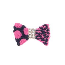リボンMINI 刺繍ブローチ (ピンク)