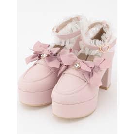 メニーリボンローファーパンプス (ピンク)