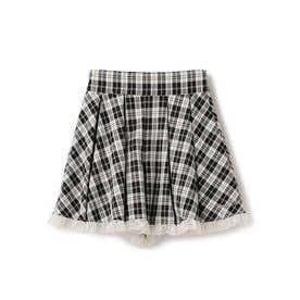ミル刺しゅうガールズチェックふわふわキュロットパンツ/ mille fille closet (シロクロ)