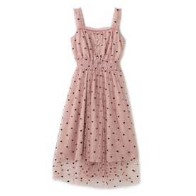 ミニハート刺繍チュールロングキャミドレスワンピース/ mille fille closet (ピンク)