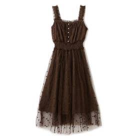 ミニハート刺繍チュールロングキャミドレスワンピース/ mille fille closet (ブラウン)