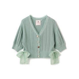 レトロボタンボリューム袖ショートカーディガン/ mille fille closet (グリーン)