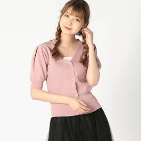 Vネック半袖カーディガン (ピンク)