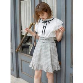 メッセージロゴ刺繍ミニスカート (シロクロ)