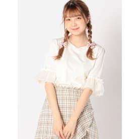 ドットチュール袖カットソー (シロ)