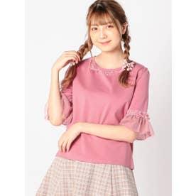 ドットチュール袖カットソー (ピンク)