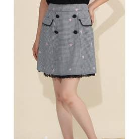 フローラエンブロイダリーWボタンスカート (シロクロ)