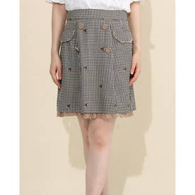 フローラエンブロイダリーWボタンスカート (茶系)