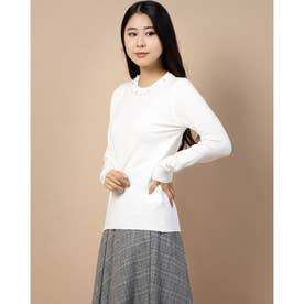 衿ぐり装飾ニット (シロ)