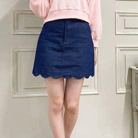 CANDY裾スカラップミニスカート (ブルー)
