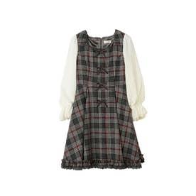 Dolly Check リボンワンピース / mille fille closet (グレー系)