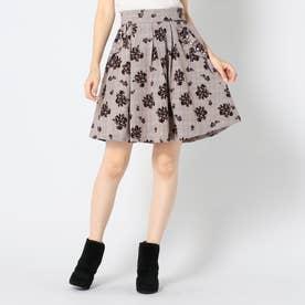 フラワーフロッキースカート (茶系)