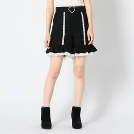 ハートキラキラバックルスカートパンツ (クロ)