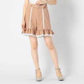 ハートキラキラバックルスカートパンツ (モカ)