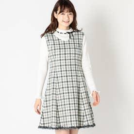 ウィンターチェックラフィネジャンパースカート (グレー系)
