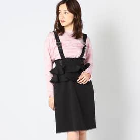 ハートバックルフリルジャンパースカート (クロ)
