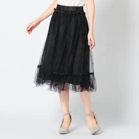 ドットチュールふんわりスカート (クロ)