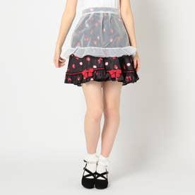 Berry Ribbonエプロン付フリルスカート (クロ)