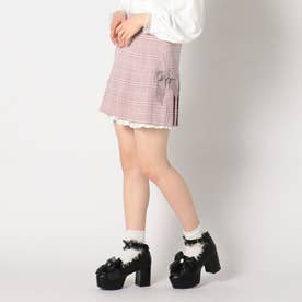 Girlyリュバンプリーツミニスカート (ピンク)
