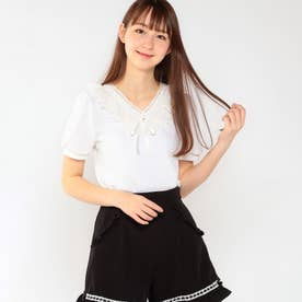 Sweet Lace パフスリーブカットソー (シロ)