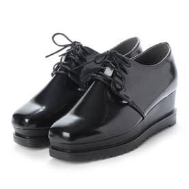 SFW 高めのヒールで美脚効果抜群の'おじ靴'厚底スクエアマニッシュシューズ/1510 (ブラックエナメル)