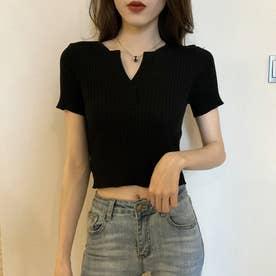 VネックTシャツ (ブラック)