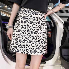 パンツ ショート スカート レディース ミニスカート パンツ ショート ショーパン ミニスカート 豹柄 アニマル柄 (ブラック)