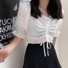 レディース トップス 夏 SS ブラウス レース シャツ ホワイト  フリル フリルブラウス 白 韓国ファッション 韓国 オフィスカジュアル カットソー (ホワイト)