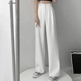 レディース パンツ ボトムス ズボン ワイドパンツ リブ シンプル 無地 カジュアル カジュアルパンツ  物 SS 韓国ファッション 韓国 夏 (ホワイト)