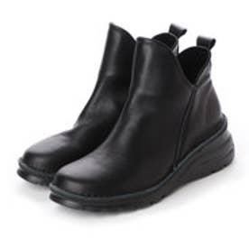柔らかレザー 楽ちん4E軽量ショートブーツ (ブラック)