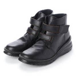 4E ASWエアリーソール ダブルベルト楽チンカジュアルブーツ (ブラック)