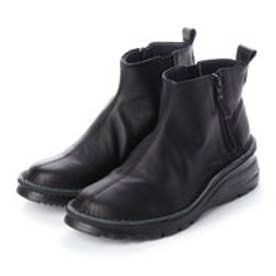 4E ふかふかASWソール 牛革サイドジップブーツ (ブラック)