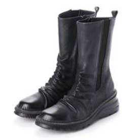4E ふかふかASWソール 牛革ミドルブーツ (ブラック)