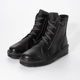 4E 軽量ASWソール 楽ちんカジュアルゴムシューレース ブーツ (ブラック)