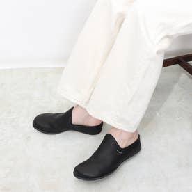 3E 楽ちん ふかふか レザー コンフォート カジュアルスリッポン (ブラック)