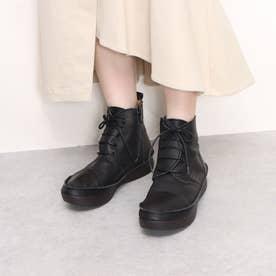 柔らかレザー ふかふかソール カジュアルブーツ (ブラック)