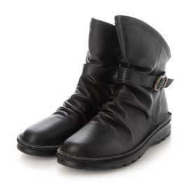 4E 軽量ASWソール 柔らかレザーフラットソール カジュアルブーツ (ブラック)