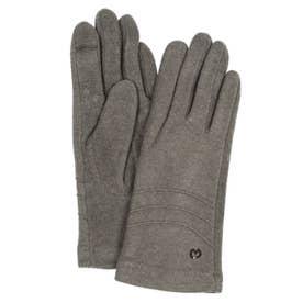 婦人 ジャージ手袋 スマホ対応 五本指 (グレー)