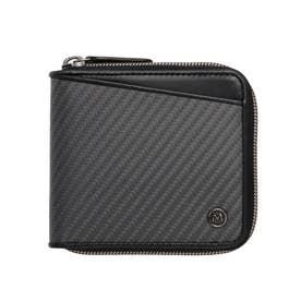リアルカーボンF・ラウンドファスナー二つ折り財布 (ブラック)
