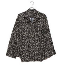 オープンカラーフラワープリントシャツ (ブラック)