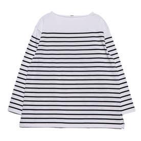 ビッグシルエットボーダーTシャツ (ブラック)