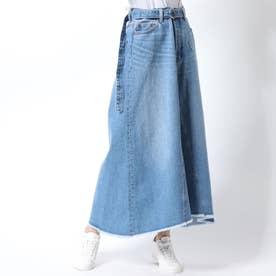 リメイク風Aラインデニムスカート (ライトブルー)