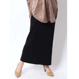 ストレートリブニットロングスカート (ブラック)