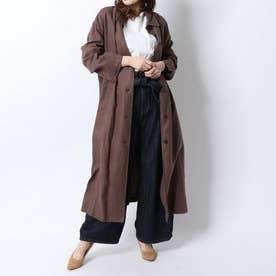 リネンロングシャツライクCT (ブラウン)