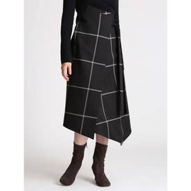 ウエストリボンラップデザインスカート (CHECK)