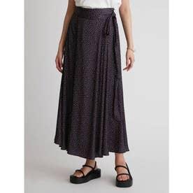 サテンマキシ丈巻きスカート (DOT)