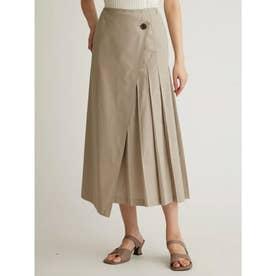 スコッチ釦タックディテール巻きスカート (IVR)