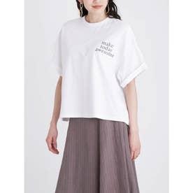 短丈ワイドグラフィックTシャツ (WHT)
