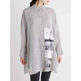 ロングリネンシャツ (STRIPE)